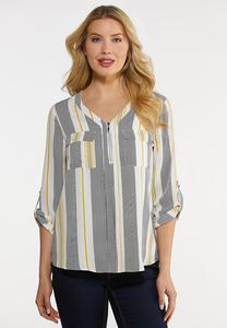 Plus Size Striped Equipment Top