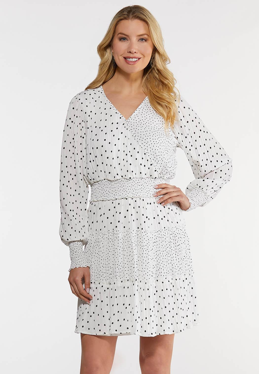 Black White Dotted Smocked Dress