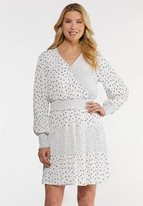 Black White Dotted Smocked Dress