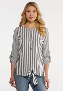 Plus Size Knotted Gray Stripe Top