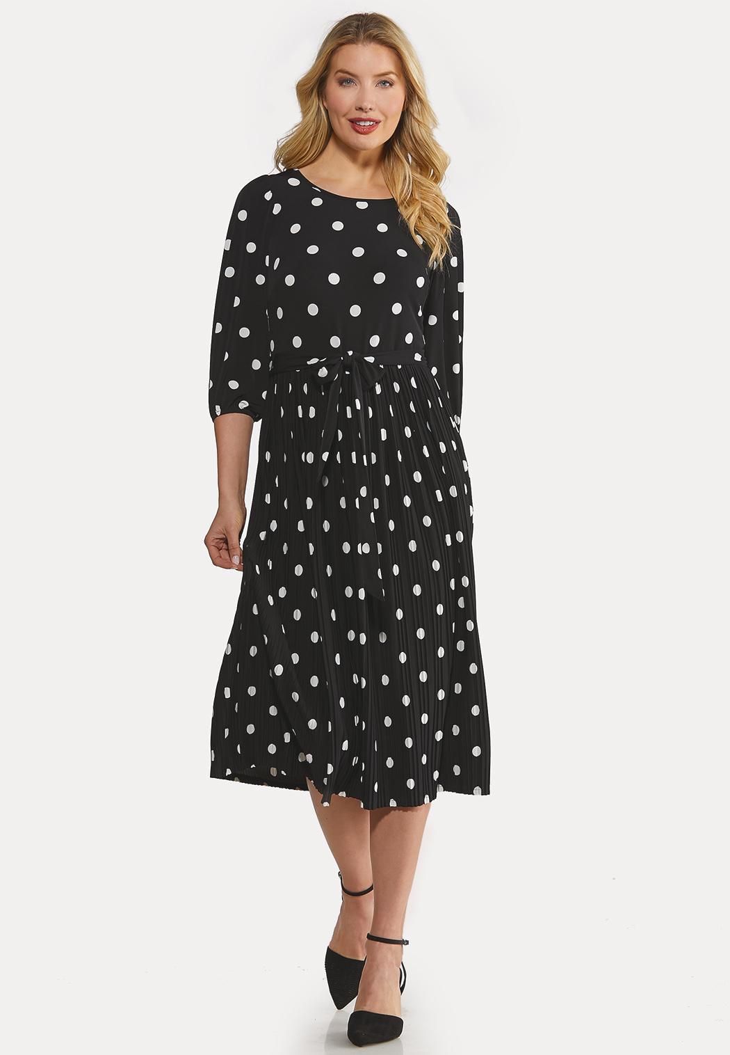 Plus Size Black White Polka Dot Dress
