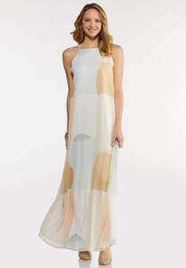 Petite Geo Halter Maxi Dress