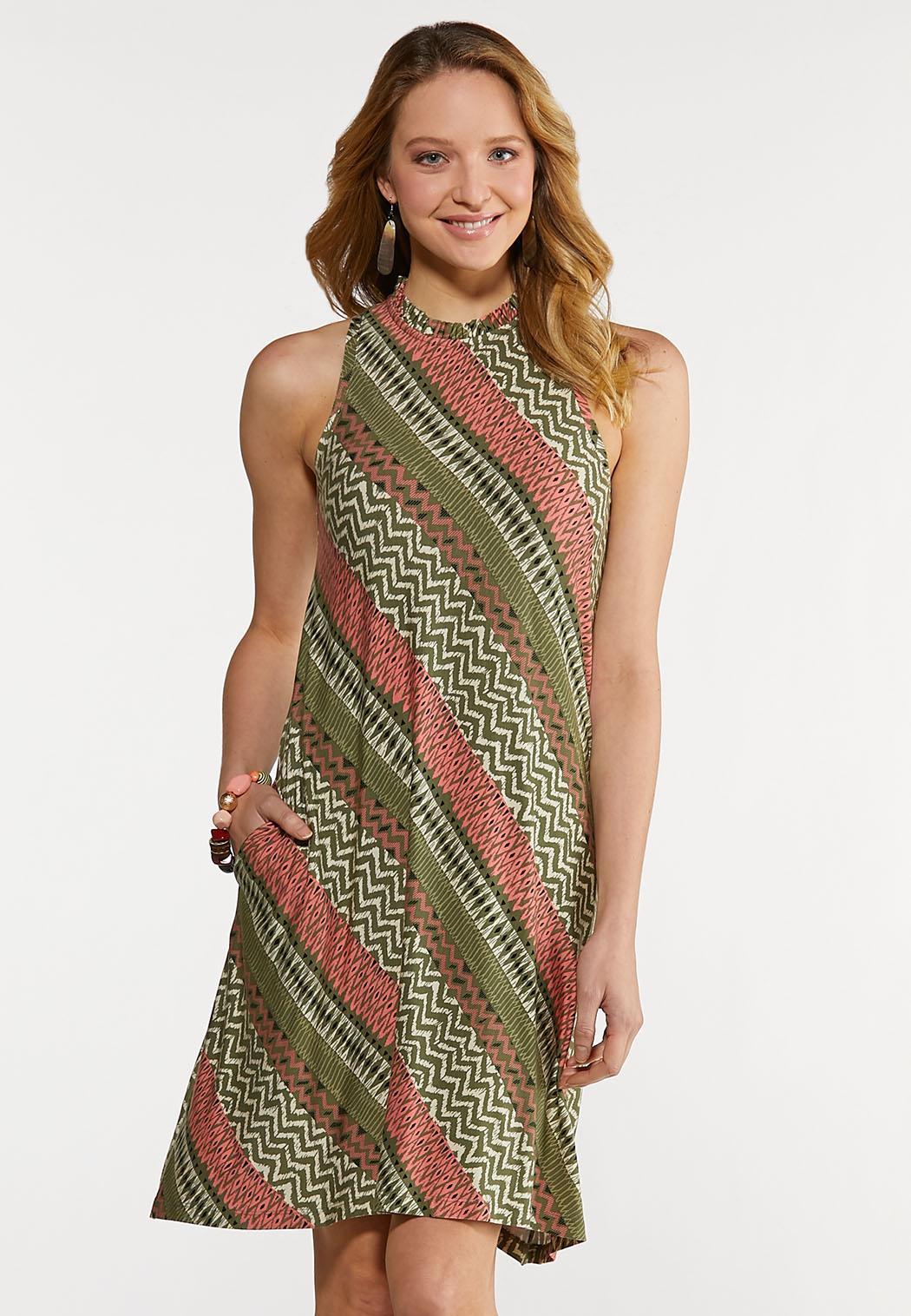 Ruffled Neck Swing Dress