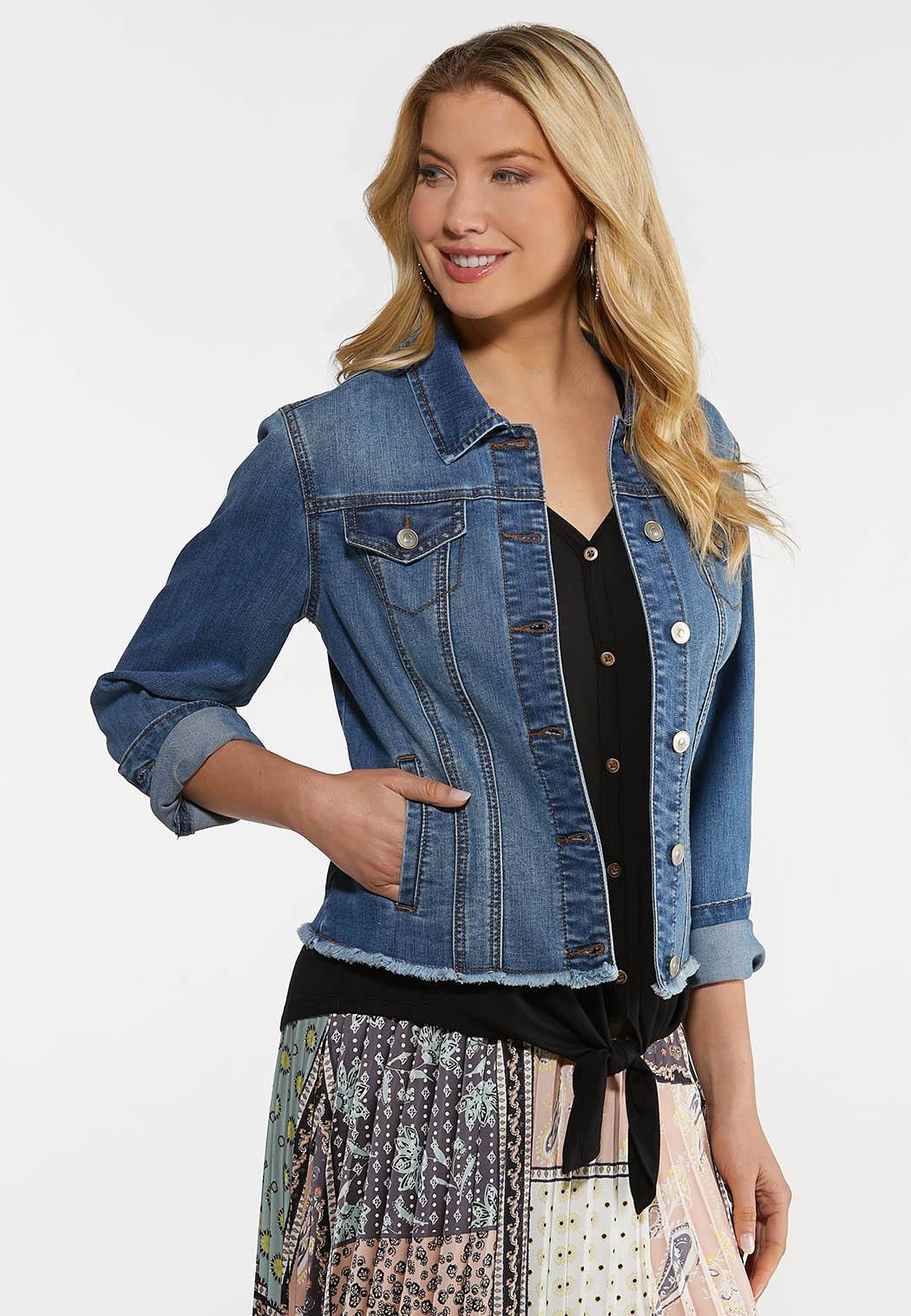 Plus Size Frayed Denim Jacket