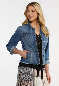 Plus Size Frayed Denim Jacket