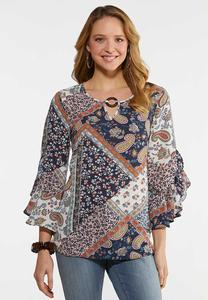 Plus Size Ruffled Patchwork Top