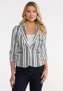 Plus Size Navy Stripe Sateen Blazer