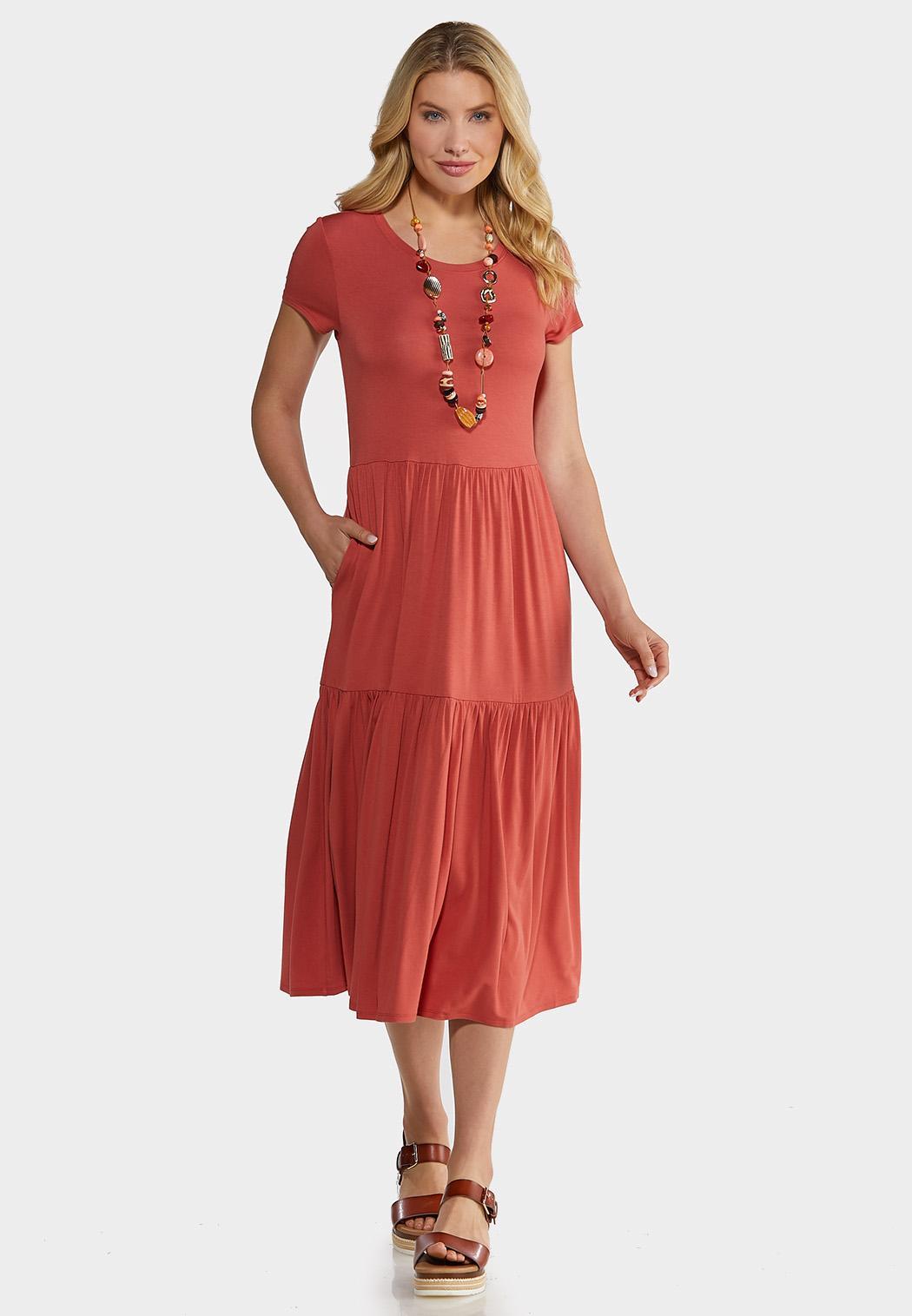 Plus Size Casual Tiered Midi Dress