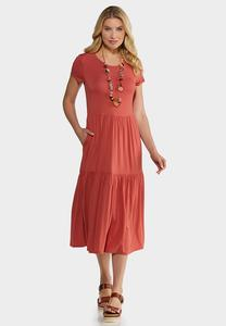 Plus Size Casual Tiered Midi Dress
