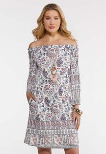 Plus Size Convertible Paisley Dress
