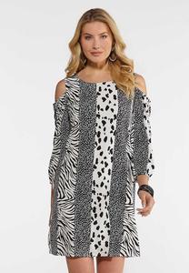 Animal Stripe Cold Shoulder Dress