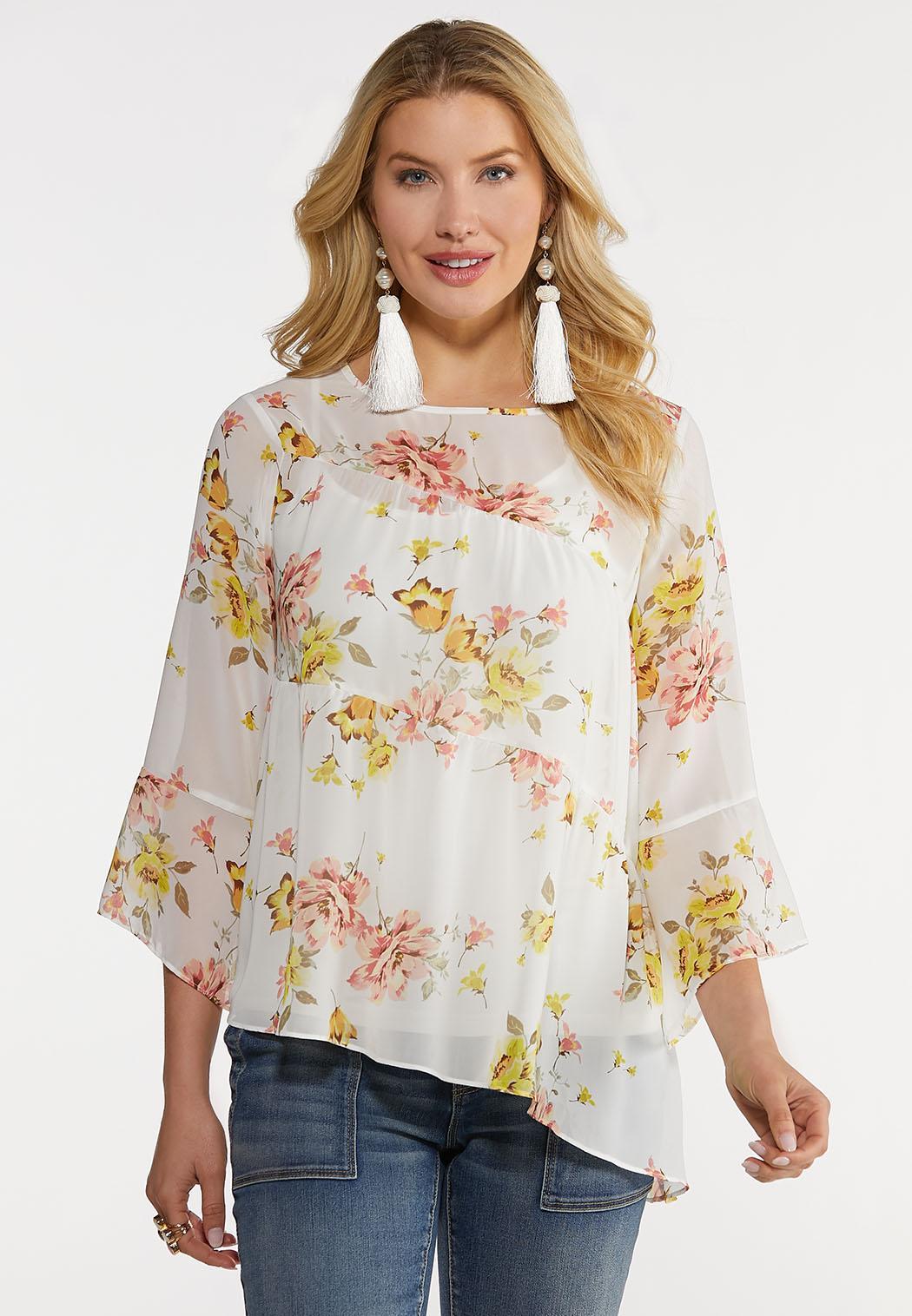 Plus Size Asymmetrical Floral Top