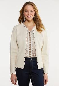 Plus Size Scalloped Faux Leather Jacket