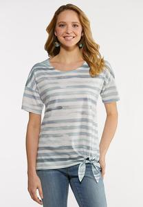 Plus Size Watercolor Stripe Tee