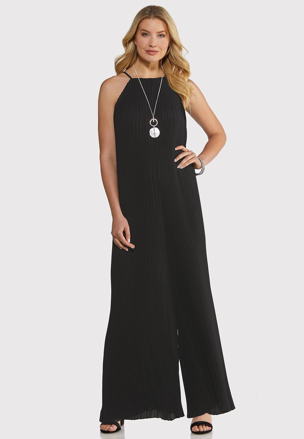 Petite Black Pleated Jumpsuit