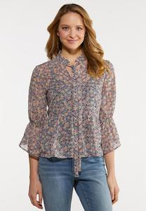 Plus Size Dainty Floral Peplum Top