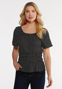 Black And White Dotted Poet Top