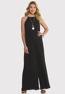 Plus Size Black Pleated Jumpsuit