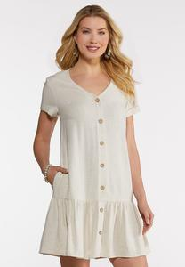 Plus Size Flounced Linen Swing Dress