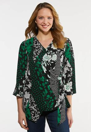 Plus Size Mixed Floral Wrap Top