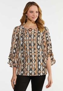Plus Size Ruffled Snakeskin Print Top