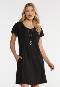 Plus Size Flutter Sleeve Swing Dress