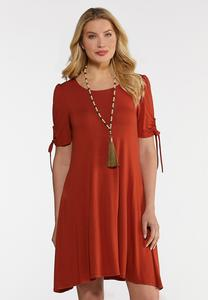 Plus Size Drawstring Tie Sleeve Dress