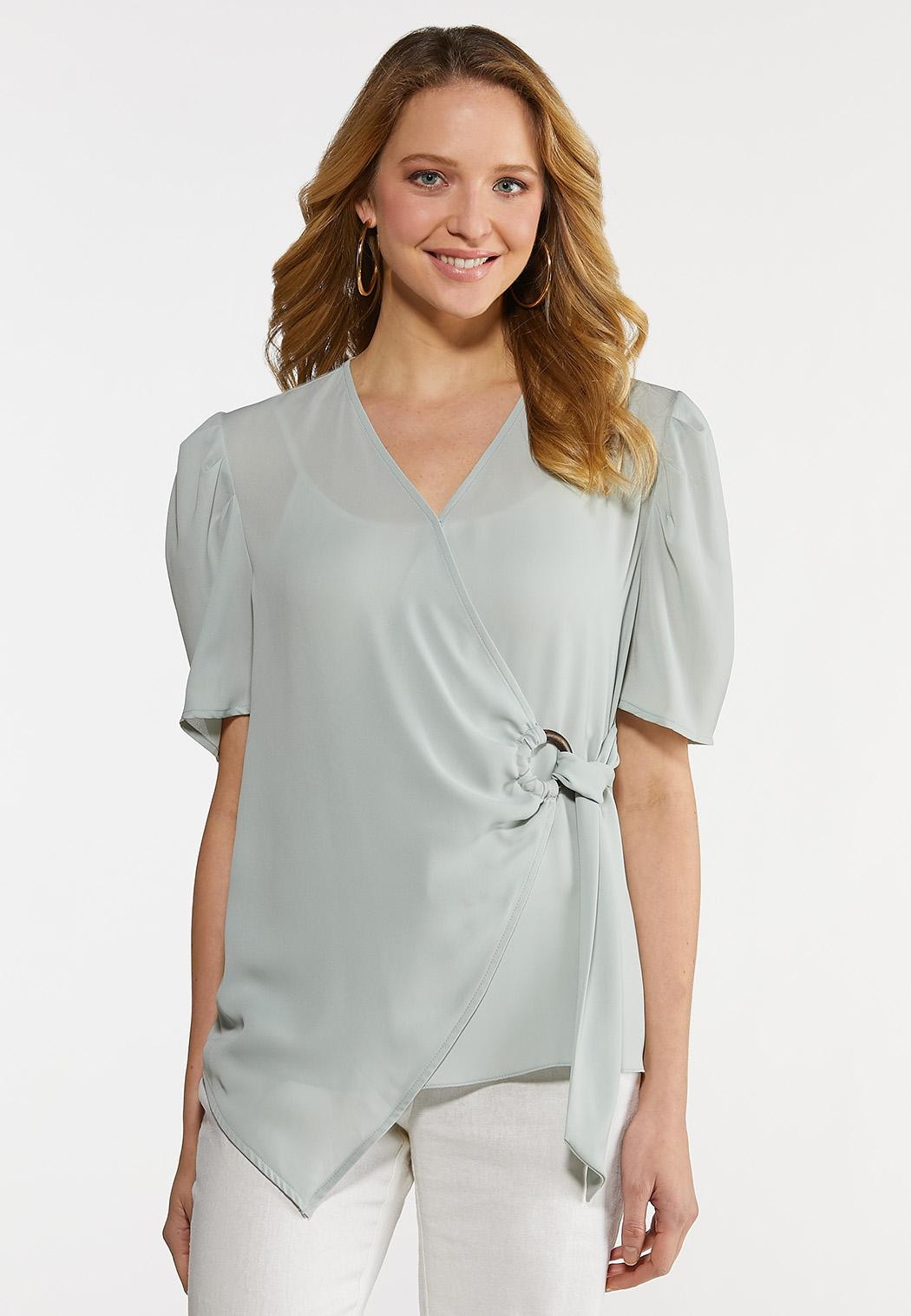 Solid Faux Wrap Top