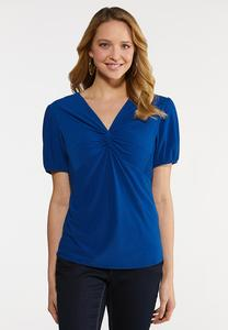 Plus Size Blue Twisted Front Top