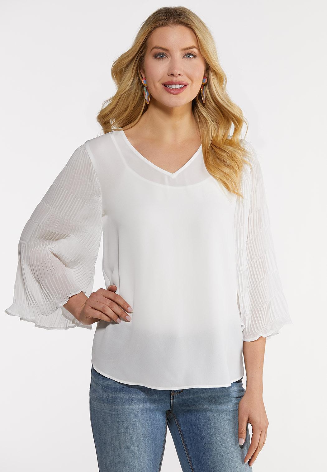 Plus Size Pleated Sleeve Top