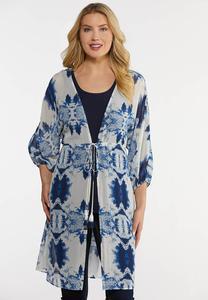 Plus Size Navy Tie Dye Kimono