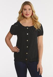 Eyelet Puff Sleeve Top