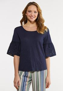 Plus Size Eyelet Bell Top