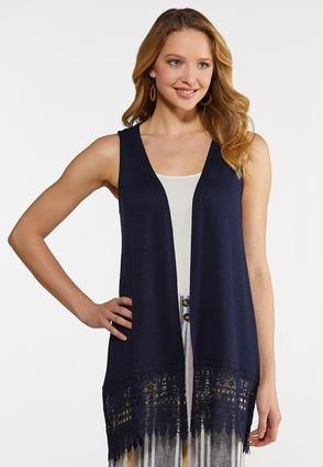 Solid Lace Trim Vest