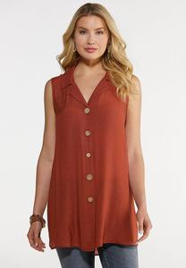 Plus Size Crepe Button Down Tank