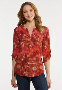 Plus Size Raspberry Tie Dye Top