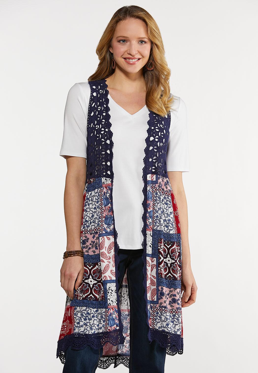 Plus Size Crochet Trim Patchwork Vest