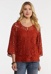 Plus Size Tassel Tie Crochet Top