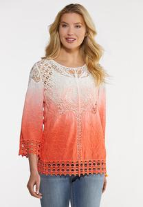 Plus Size Dip Dye Crochet Top