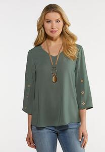Plus Size Button Sleeve Woven Top