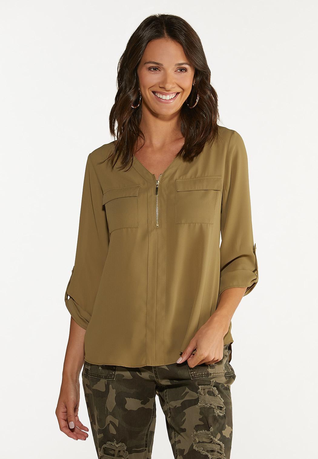 Plus Size Solid Equipment Shirt