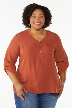 Plus Size Solid Equipment Shirt