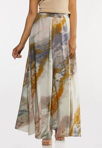 Plus Size Watercolor Wide Sweep Maxi Skirt