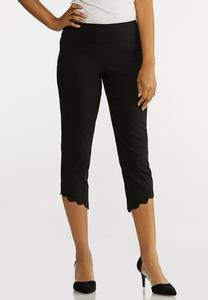 Cropped Scalloped Hem Pants