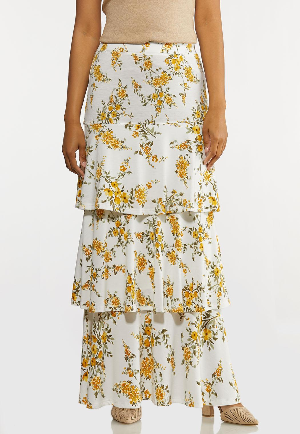 Plus Size Tiered Spring Floral Maxi Skirt