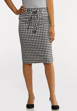 Gingham Tie Pencil Skirt