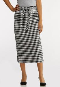 Plus Size Gingham Tie Pencil Skirt