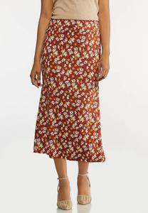 Plus Size Rust Floral Skirt