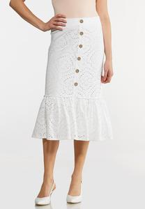 Plus Size Eyelet Button Midi Skirt