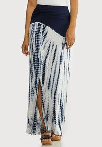 Plus Size Navy Tie Dye Maxi Skirt
